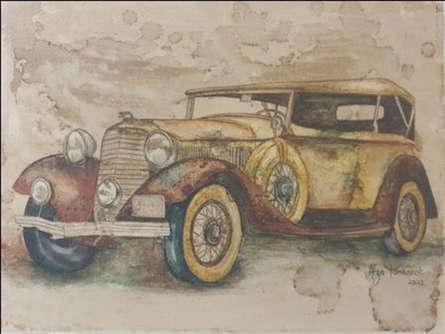 Transportation Coffee & watercolor Art Painting title Vintage Car 2 by artist Afza Tamkanat