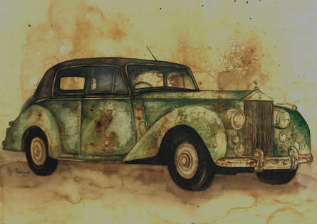 Transportation Coffee & watercolor Art Painting title Vintage Car 4 by artist Afza Tamkanat