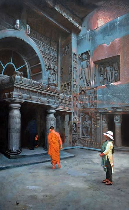 Cityscape Oil Art Painting title 'Chaitya Griha 1' by artist Raju More