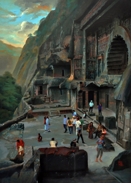 Cityscape Oil Art Painting title 'Chaitya Griha 2' by artist Raju More