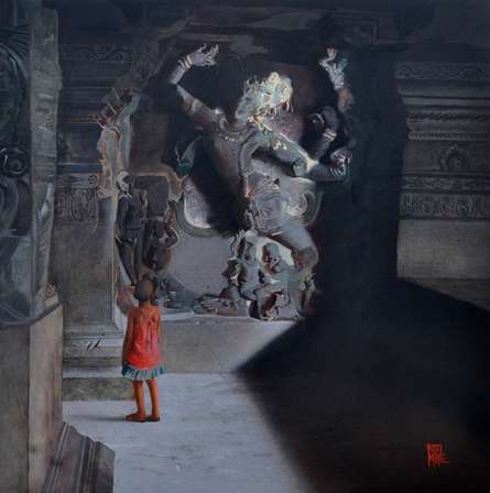 Cityscape Oil Art Painting title 'Shiva Dancing Tandava' by artist Raju More