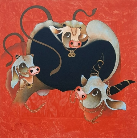 Animals Acrylic Art Painting title 'Bull' by artist H R Das