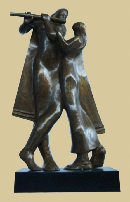 Bronze Sculpture titled 'Tune Of Love' by artist Somnath Chakraborty