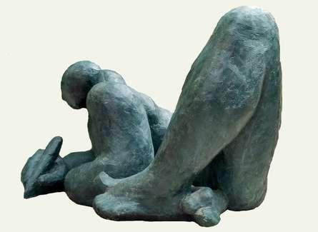 Fiberglass Sculpture titled 'Writer' by artist Somnath Chakraborty