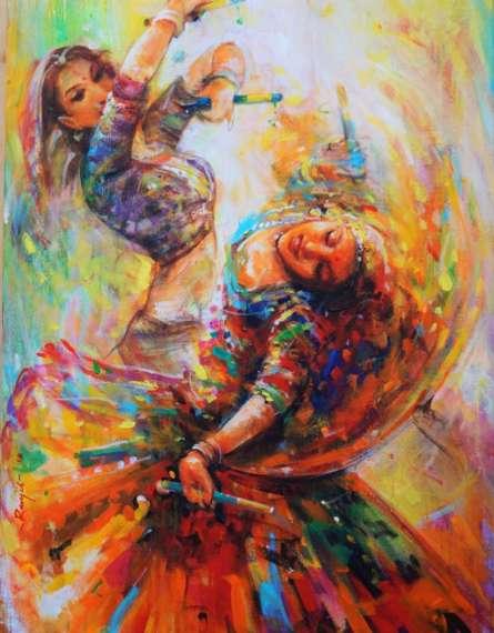 Figurative Acrylic Art Painting title 'The Celebration Gangour 1' by artist Ranjit Sarkar