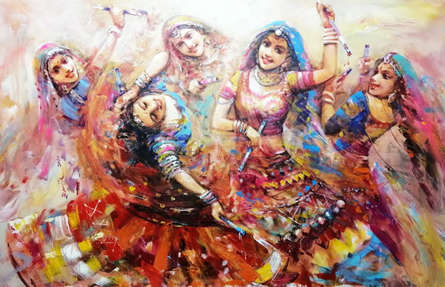 Figurative Acrylic Art Painting title The Celebration Gangour 3 by artist Ranjit Sarkar
