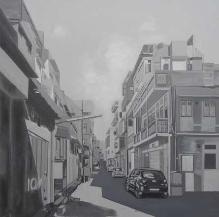 Cityscape Acrylic Art Painting title 'Gray Street' by artist Ajay Mishra