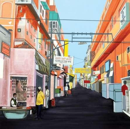 Cityscape Acrylic Art Painting title Khejron Ka Rasta by artist Ajay Mishra