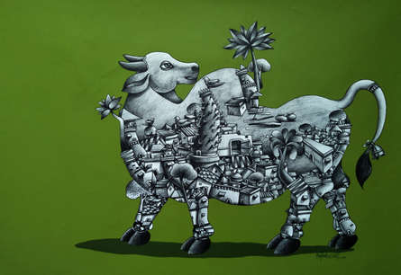 Manjunath Wali Paintings | Mixed-media Painting - Bull 1 by artist Manjunath Wali | ArtZolo.com