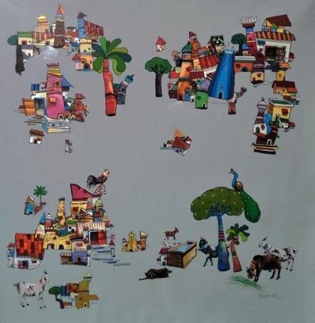 Figurative Acrylic Art Painting title 'My Village 1' by artist Manjunath Wali