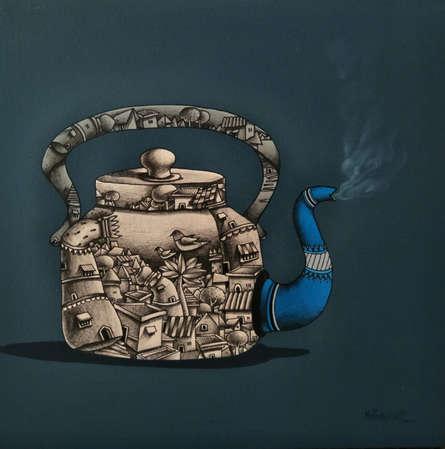 Manjunath Wali | Mixed-media Painting title Tea Pot on Canvas | Artist Manjunath Wali Gallery | ArtZolo.com