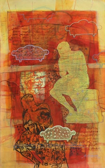 Figurative Acrylic Art Painting title 'Comfortable' by artist Shitangshu Mondal