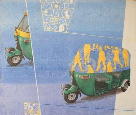 Transportation Acrylic Art Painting title 'Destination' by artist Shitangshu Mondal