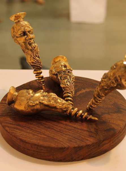 Brass, Wood Sculpture titled 'Screwed Up' by artist Navjot Sohal