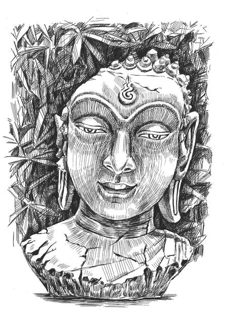 Figurative Pen-ink Art Drawing title Buddha Pen Ink 11 By 15 Inches by artist Prashantarts