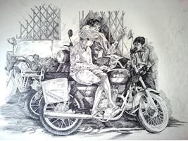 Figurative Pen-ink Art Drawing title 'Prashant Sinha the Rurals Medium Pen ink' by artist Prashantarts