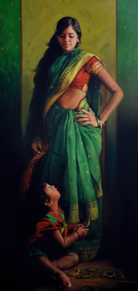Angelic Gaze | Painting by artist Pramod Jagtap | acrylic | Canvas