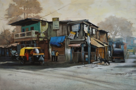Cityscape Acrylic Art Painting title Breathing Lights by artist Pramod Jagtap