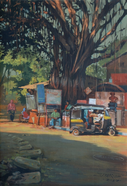 Cityscape Acrylic Art Painting title Breathing Lights 6 by artist Pramod Jagtap