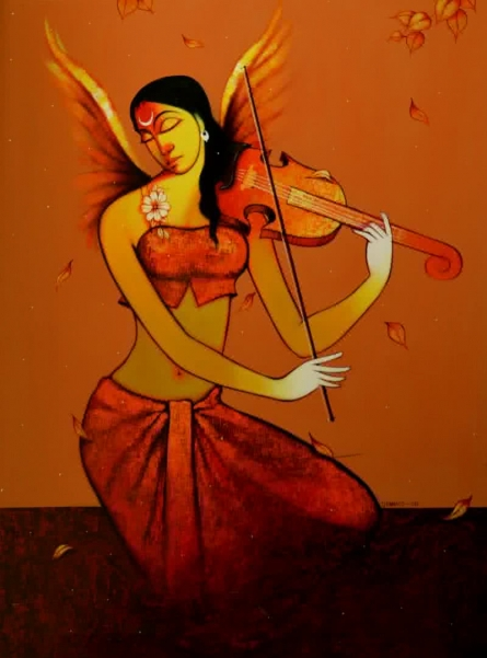 Pramod Jagtap | Acrylic Painting title Music 2 on Canvas | Artist Pramod Jagtap Gallery | ArtZolo.com