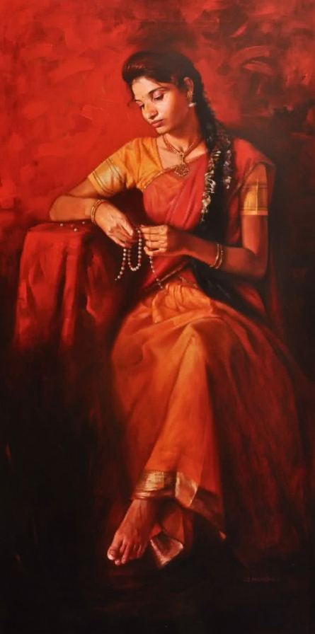 Pearl In Heart | Painting by artist Pramod Jagtap | acrylic | Canvas