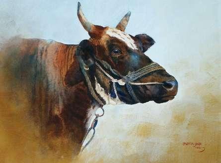 Rupesh Sonar Paintings | Watercolor Painting - Crying Cow by artist Rupesh Sonar | ArtZolo.com