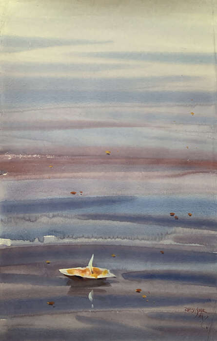 Cityscape Watercolor Art Painting title 'Evening At Varanasi 3' by artist Rupesh Sonar