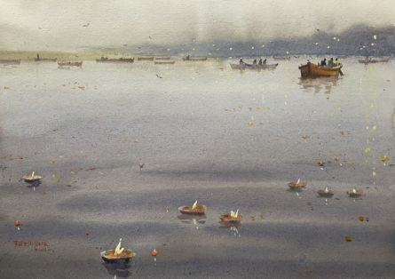 Cityscape Watercolor Art Painting title 'Evening At Varanasi 4' by artist Rupesh Sonar