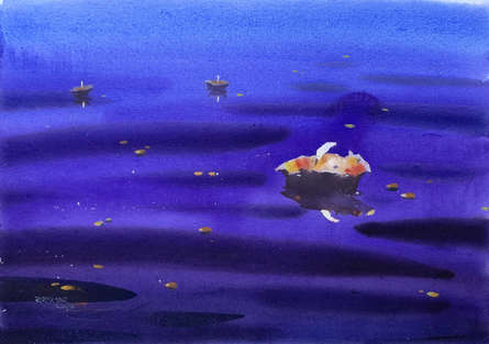 Cityscape Watercolor Art Painting title 'Night At Varanasi 5' by artist Rupesh Sonar