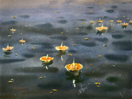 Cityscape Watercolor Art Painting title 'Night At Varanasi 1' by artist Rupesh Sonar