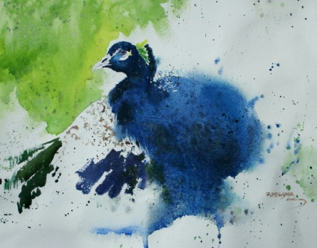 Rupesh Sonar | Watercolor Painting title Peacock 2 on Paper | Artist Rupesh Sonar Gallery | ArtZolo.com