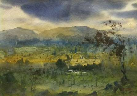 Landscape Watercolor Art Painting title 'Top' by artist Rupesh Sonar