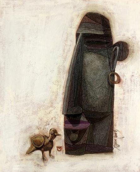 Figurative Acrylic Art Painting title Rangamati by artist Tamojit Bhattacharya