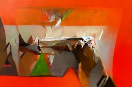 Abstract Acrylic Art Painting title 'Untitled 146' by artist Shrikant Kadam