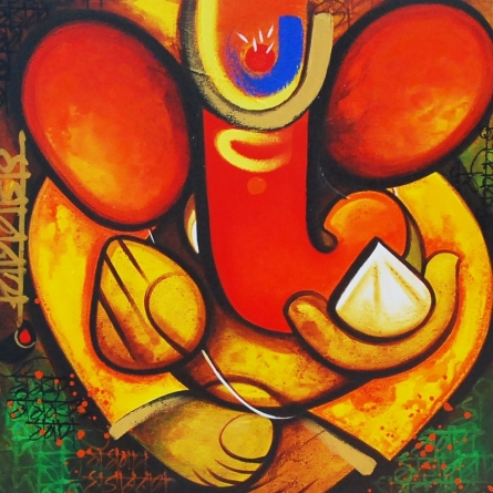 Religious Acrylic Art Painting title 'Gajay' by artist Om Swami