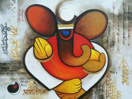 Religious Acrylic Art Painting title 'Ganesha 1' by artist Om Swami