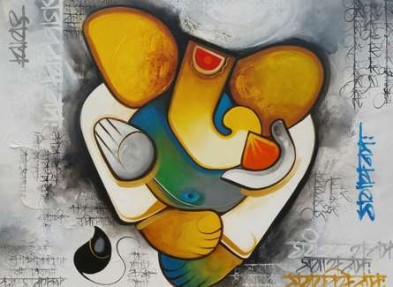 Religious Acrylic Art Painting title 'Ganesha 2' by artist Om Swami