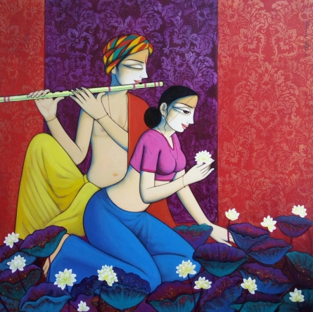 Figurative Acrylic Art Painting title 'Love' by artist Pravin Utge