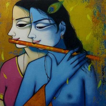 Religious Acrylic Art Painting title 'Radha Krishna 2' by artist Pravin Utge