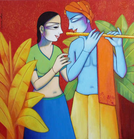 Religious Acrylic Art Painting title 'Radha Krishna 3' by artist Pravin Utge