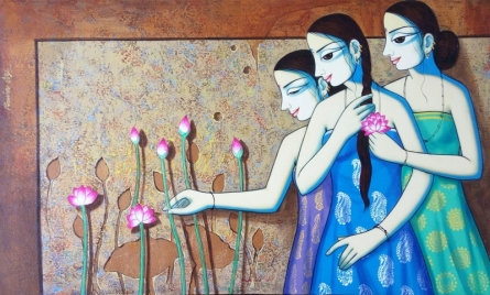 Figurative Acrylic Art Painting title 'Smilie' by artist Pravin Utge