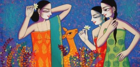 Figurative Acrylic Art Painting title Untitled 7 by artist Pravin Utge