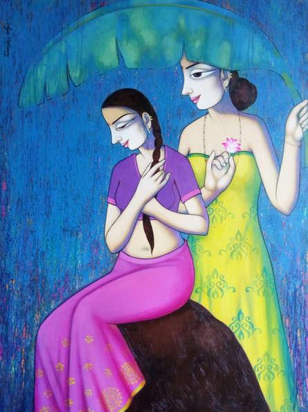 Figurative Acrylic Art Painting title Women Enjoying Rain 1 by artist Pravin Utge