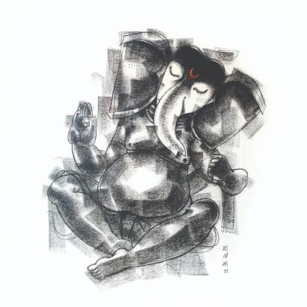 art, painting, charcoal, canvas, religious, ganesha