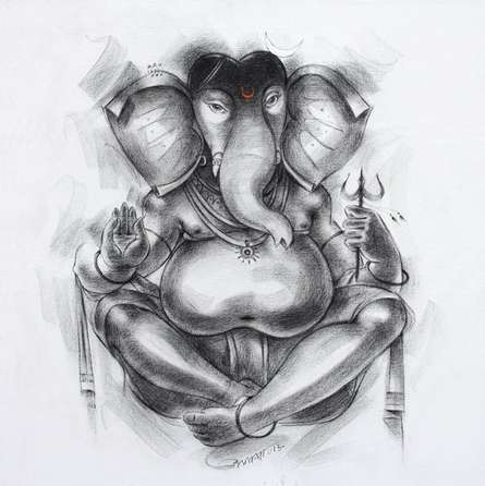 Religious Acrylic Art Painting title 'Ganesha 2' by artist Sanjay Bhalerao