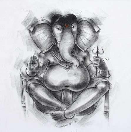 Religious Acrylic Art Painting title Ganesha 2 by artist Sanjay Bhalerao