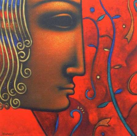 Religious Acrylic Art Painting title 'Shiv 5' by artist Sanjay Bhalerao