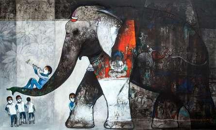 Suresh Gosavi | Acrylic Painting title Untitled 1 on Canvas | Artist Suresh Gosavi Gallery | ArtZolo.com