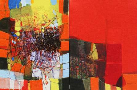 Abstract Mixed-media Art Painting title Untitled 1 by artist Yogesh Murkute