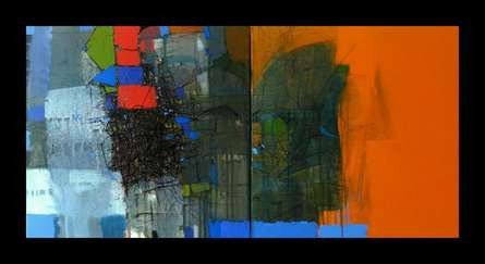 Abstract Mixed-media Art Painting title 'Untitled 2' by artist Yogesh Murkute